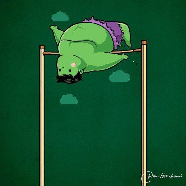 "flyingmouse365: ""Sporty Hulk - High Jump ▂▂▂▂▂▂▂▂▂▂▂▂▂▂▂▂▂▂ Sporty Buddy @flyingmouse365 ▂▂▂▂▂▂▂▂▂▂▂▂▂▂▂▂▂▂ #SportyBuddy #hulk #marvel #ragnarok #theavengers #comic #movie #funny #PopCulture #parody #sport #cute #characterdesign #olympics..."