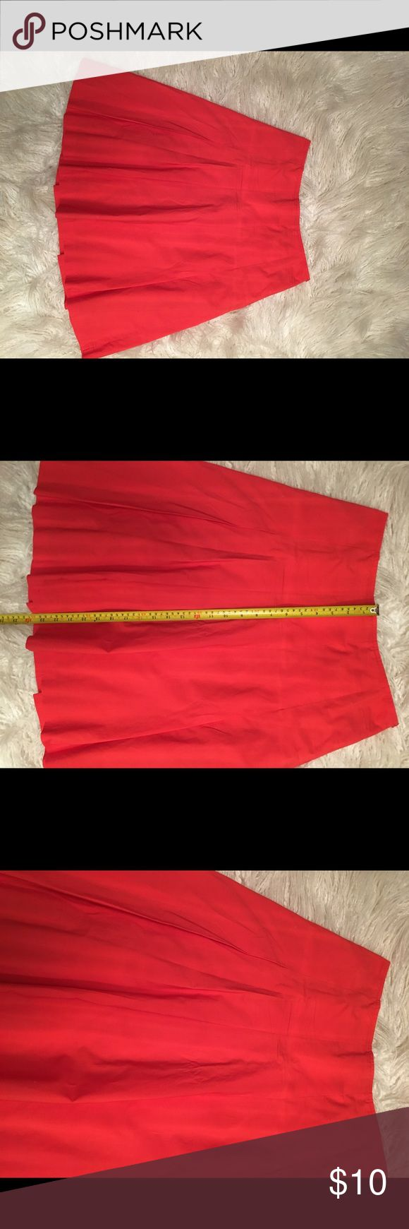 Express Orange Skirt Cute summer skirt, light weight material. Has pleats in front. Good condition, always taken to dry cleaners. Size 4. Top in picture is also available in my closet, cute outfit together, make a bundle. Express Skirts A-Line or Full