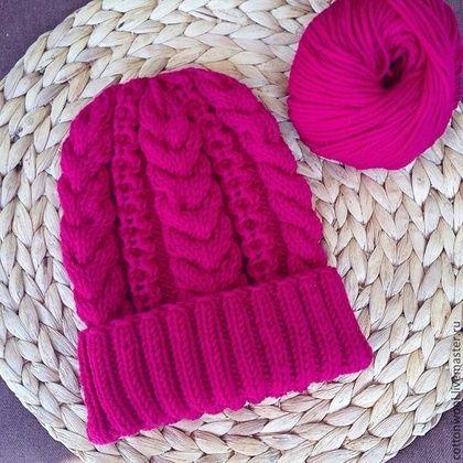Шапочка Berry из мериноса - фуксия,однотонный,шапка,шапочка,шапка женская