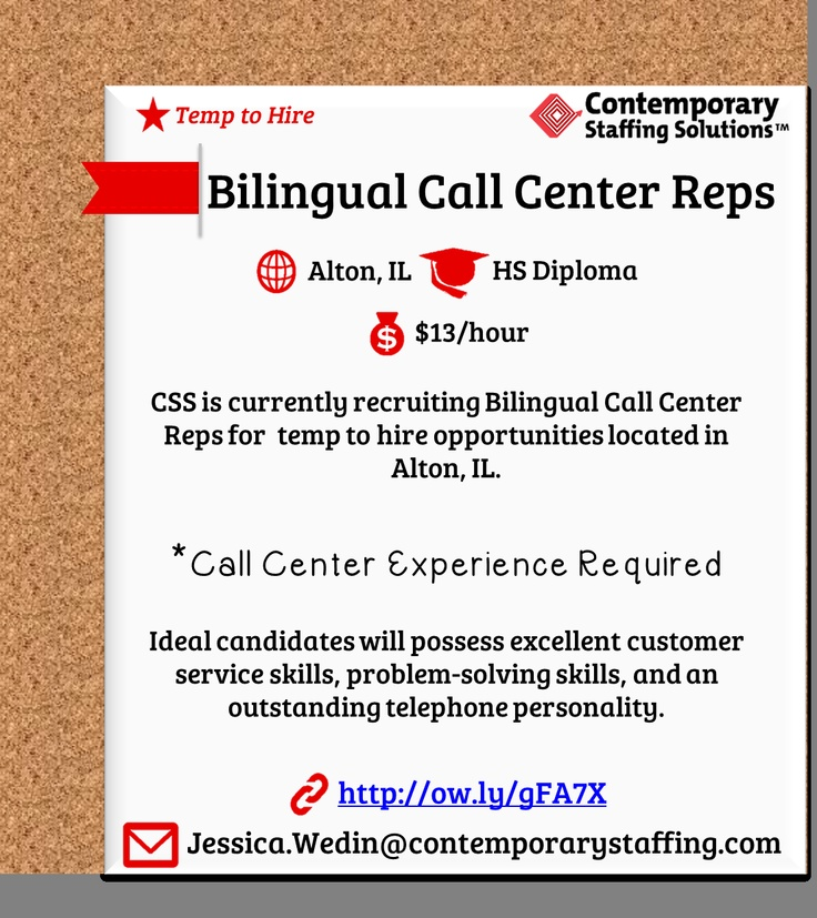 CSS is #hiring Bilingual Call Center Reps in Alton, IL $13\/hour - how to email resume