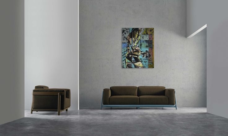 Modern hotel lobby and contemporary painting of a woman - 'Supergirl 3' by @anialuk_art