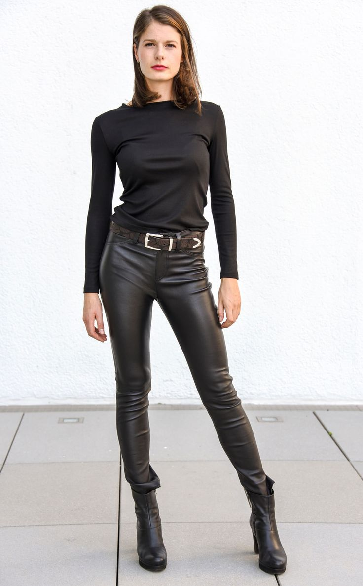 Women's Leather Jeans, Nappa Leather, Black