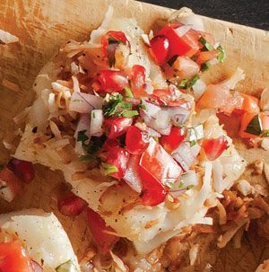Toasted Coconut Cod with Pomegranate Salsa is what we want to eat every day! The coconut adds nutty sweetness to the tart and savory salsa. For more spice, add a jalapeno to that salsa. Yum.