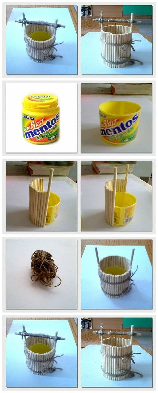 Craft a small/mini well/bucket made with simple sticks and twine. :)
