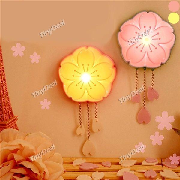 Cherry Blossom Shaped Light & Voice Control Plug Night Light Mini Plastic Indoor Lighting Bedside Night Lamp HLT-425160
