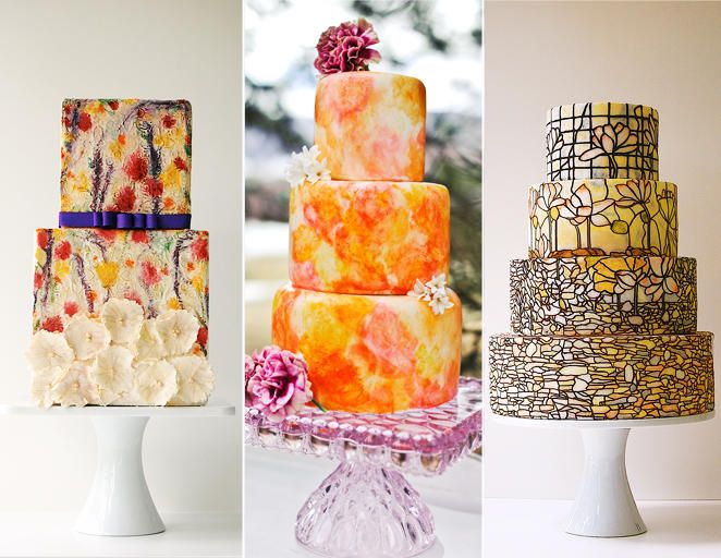 15 Hot Wedding Cake Trends | TheKnot.com Painted cakes-- stained glass or sponge-painted