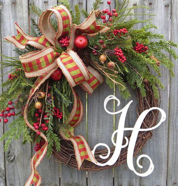 Christmas Grapevine Wreath with Plaid Burlap, Christmas Wreath, Winter Wreath, Christmas Fruit Wreath, Housewarming Gift, Wreath Initial