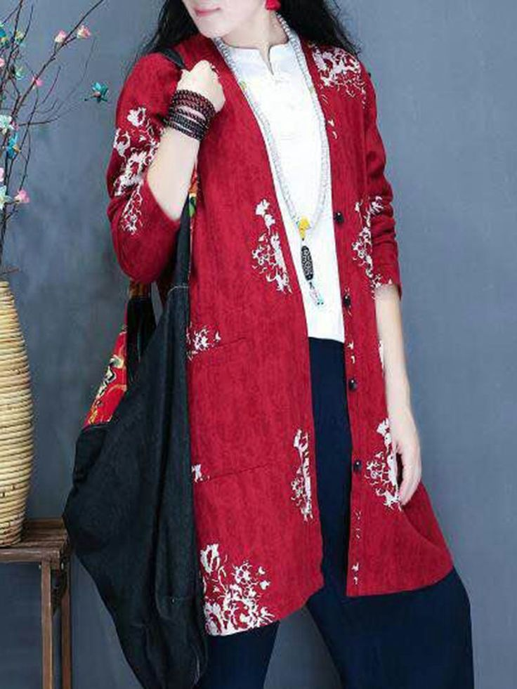 Women Vintage Printed Long Sleeve V-Neck Pocket Coats