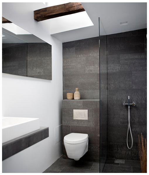 Grey & White bathroom with timber rustic touch