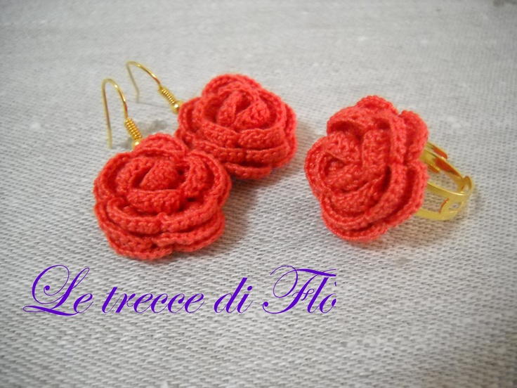 parure rosso corallo crochet