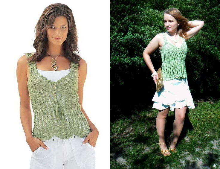 Light green crochet top inspired by Victoria's Secret.