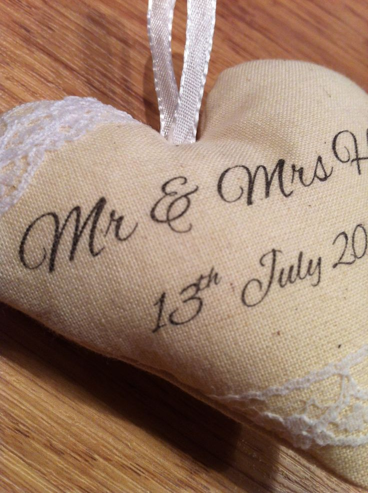 Personalised Calico Hanging Heart perfect for weddings and anniversaries - pinned by pin4etsy.com