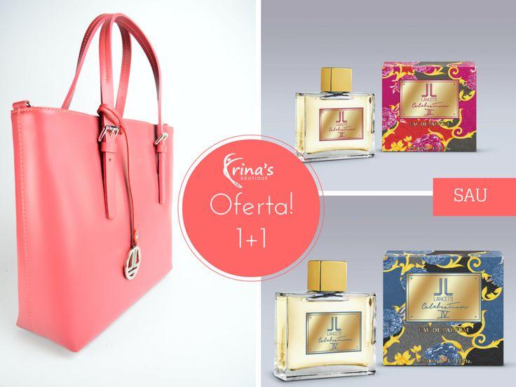 OFERTA! Vino la Irina's Boutique, alege geanta preferata si primesti CADOU un parfum! Geanta este cel mai util accesoriu al unei femei!  Aceasta iti defineste stilul si iti ofera increderea de care ai nevoie. Lasa-te cucerita de produsele Lancetti, care iti vor incanta simturile vizuale si olfactive. Te asteptam in magazin (Bucuresti, str. Mihai Eminescu, nr.17), pentru a vedea toata colectia! #irinasboutique #geanta #parfum #lancetti #promotie #oferta