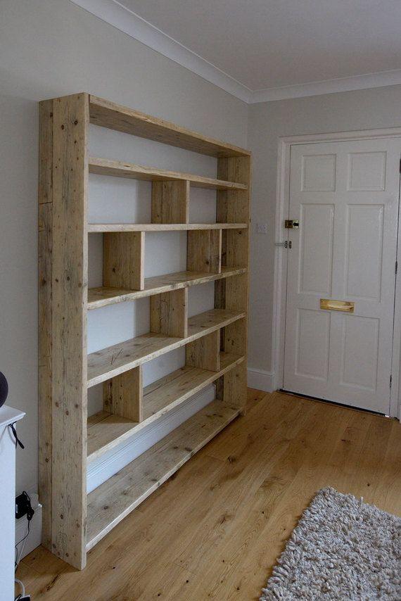 Questa Splendida Grande Libreria In Legno Costruita Con Legno Recuperato E 166cm X 205 Vasta X 30 Alta Profon Bookcase Diy Bookshelves Diy Diy Bookshelf Design
