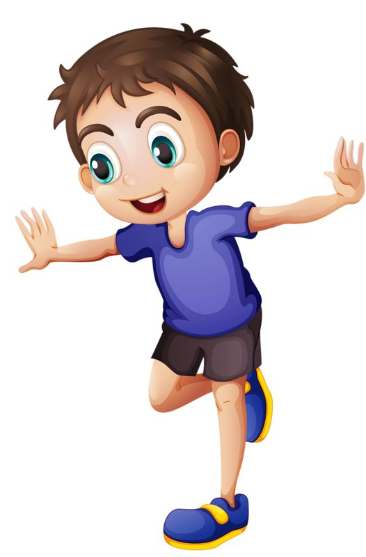 Boy standing on 1 foot- clip art