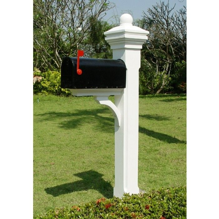 Mailbox Post With Brace And Smooth Orb Cap