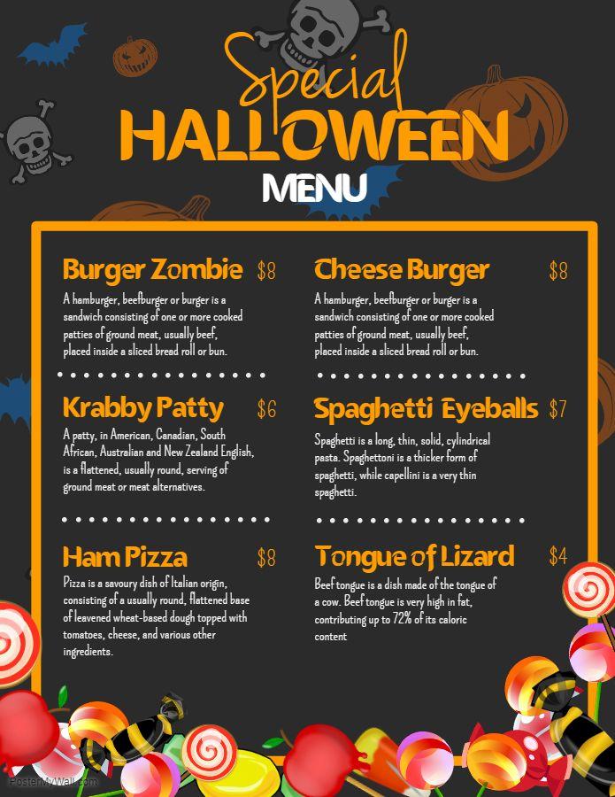 halloween themed burgers menu design template