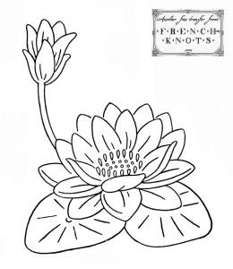 water lily embroidery pattern