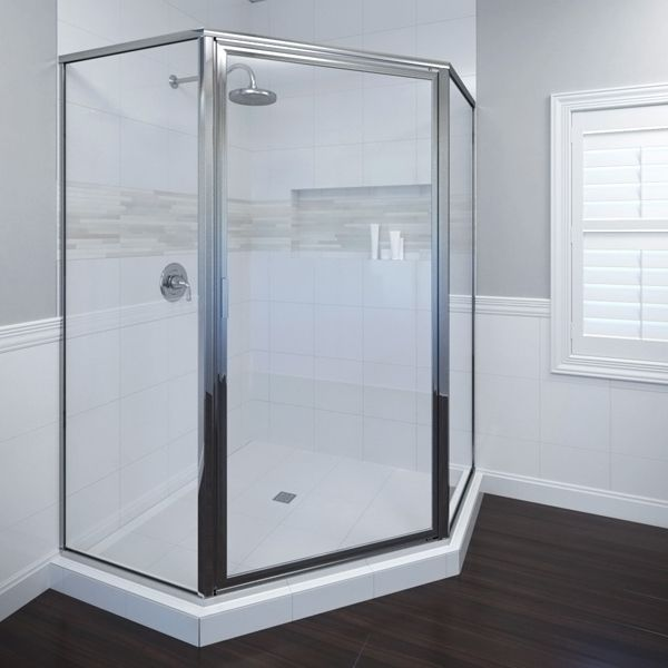 Basco Deluxe X Neo Angle Shower Door Glass Type: Obscure Glass, Trim  Finish: Oil Rubbed Bronze