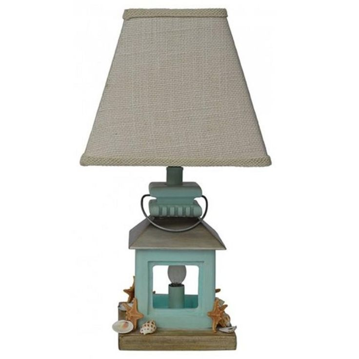 Set Of 2 Cape Cod Coastal Style Lantern Table Lamps With Beige Burlap  Shades, Blue