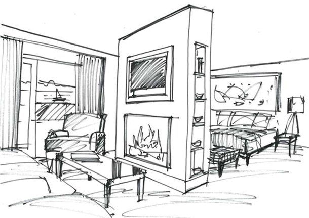 Garry Cohn | interior designer and architect | Cliff House Hotel sketches and renderings