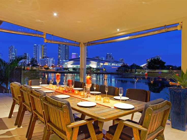 Panoramic views across the water to Broadbeach skyline from www.holidayhousegoldcoast.com
