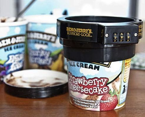 Ben and Jerry's ice cream lock. What my house really needs is a beer lock and a cookie lock, but this is a start.