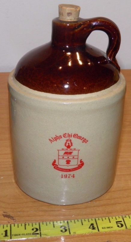 Vintage 1974 Alpha Chi Omega Sorority Whiskey Party Jug Crock Two Toned w/ Cork