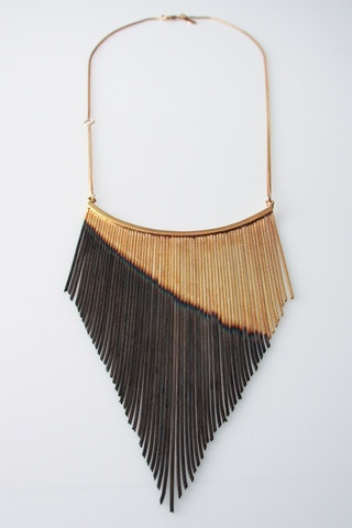 Iosselani - long fringe necklace - bohemian rocker chic