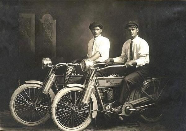 Harley Davidson founders William Harley and Arthur Davidson in 1914