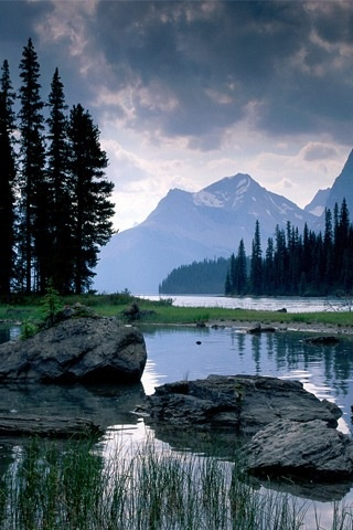 Calm alpine waters of small lake