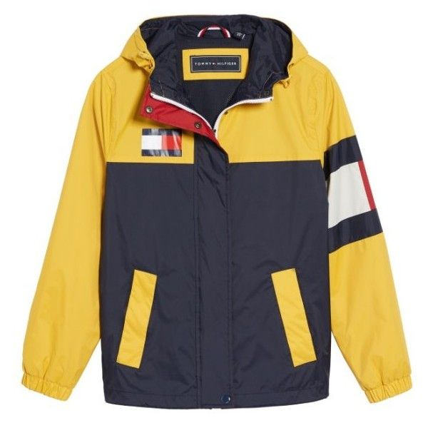 Women's Tommy Hilfiger Colorblock Windbreaker (£75) ❤ liked on Polyvore featuring activewear, activewear jackets, jackets, logo sportswear and tommy hilfiger