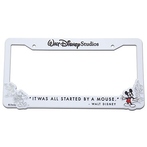 Walt Disney Studios Mickey Mouse License Plate Frame -- White | Car ...