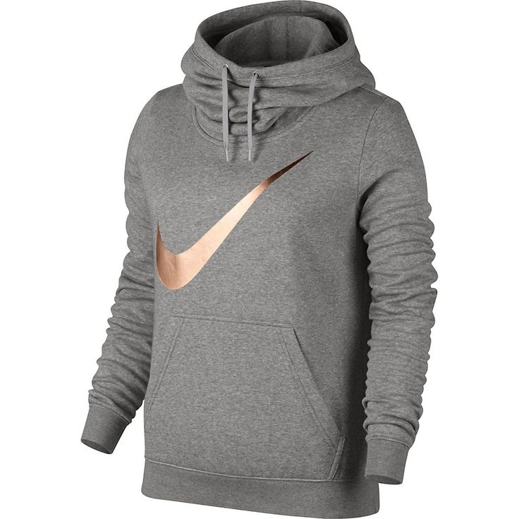 Women's Nike Sportswear Funnel Neck Hoodie Color: Grey with rose gold swoosh  Size: xl