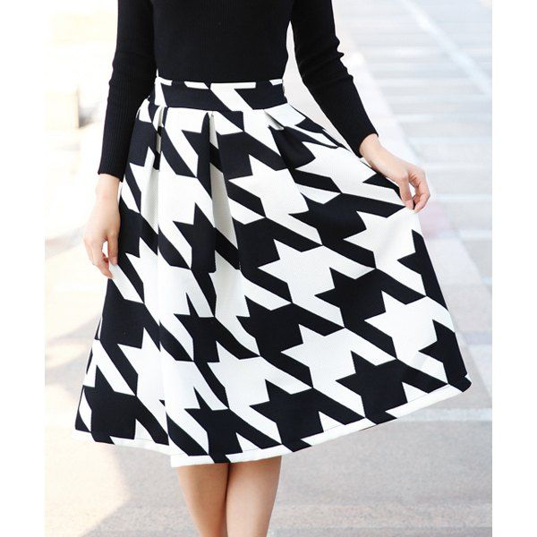 Vintage Style Houndstooth Print A-Line Skirt For Women