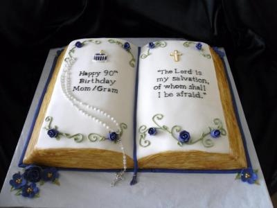 Cake Designs Book Shape : An open bible cake for a 90th birthday. Cakes ...