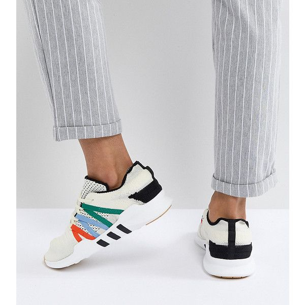 adidas Originals EQT Racing Adv Sneakers In Off White ($160) ❤ liked on Polyvore featuring shoes, sneakers, white, white trainers, adidas originals sneakers, white jersey, retro shoes and stretch trainer
