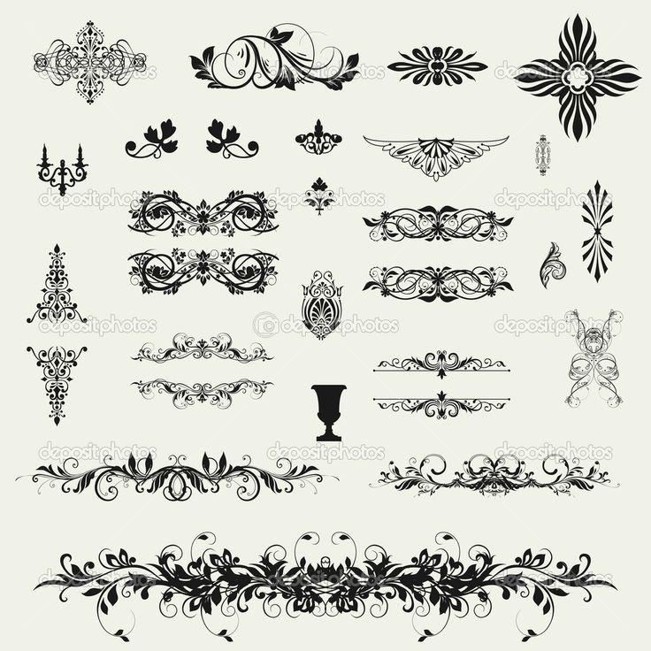 Каллиграфические элементы дизайна и художественное оформление страницы — стоковое изображение #29959727