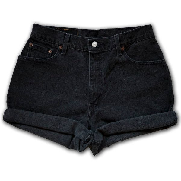 Vintage 90s Levi's Black Gray Dark Wash High Waisted Rise Cut Offs... (£38) ❤ liked on Polyvore featuring shorts, bottoms, pants, short, high rise denim shorts, high waisted cut off shorts, short jean shorts, jean shorts and high rise jean shorts