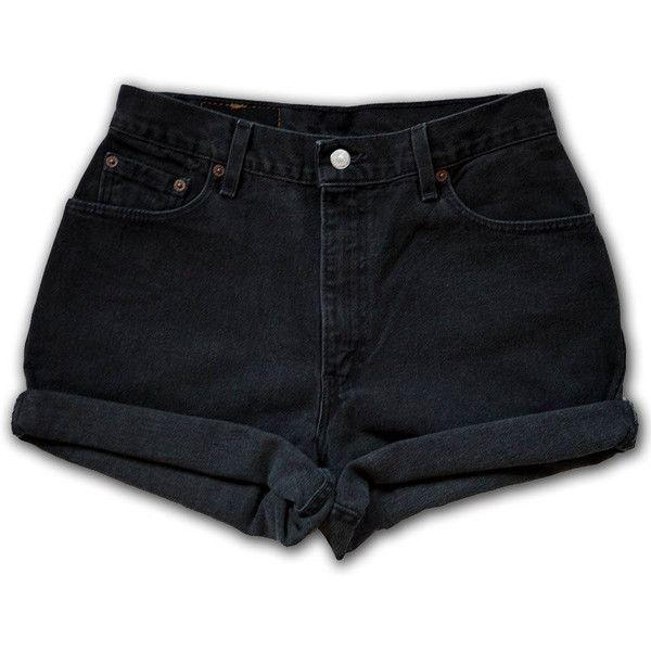Vintage 90s Levi's Black Gray Dark Wash High Waisted Rise Cut Offs Cuffed Rolled Jean Denim Shorts – Size 30