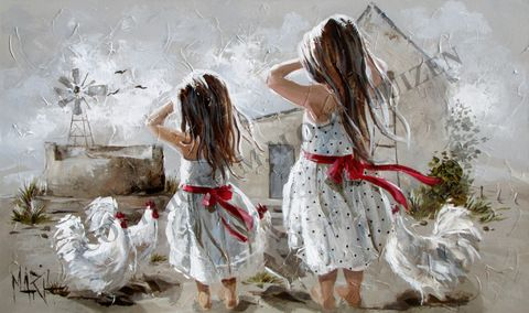 M12071 Waiting to Exhale Farm girls waiting for Dad 1000 x 600 by Maria (Maria Art)
