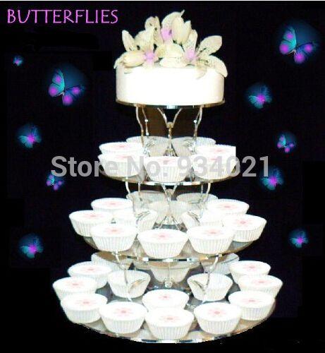 Бесплатная Доставка 4 Уровня Круг Ясно Кекс Кекс Стенд, акриловые Бабочки Торт Стоять На Свадьбу