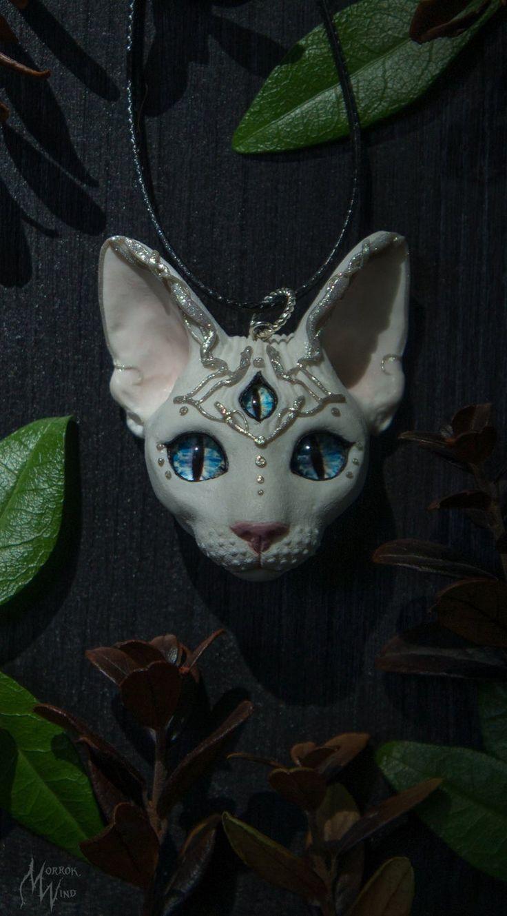 Sphynx cat third eye white mystic necklace blue eyes