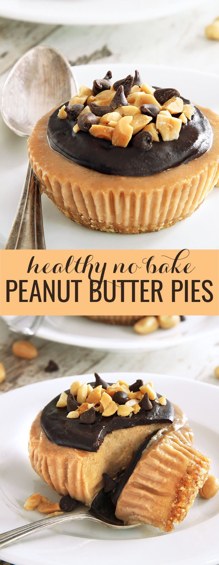 No bake peanut butter pie recipe made into healthy single-serve minis, with coconut milk instead of cream cheese in the filling. So simple and delicious!