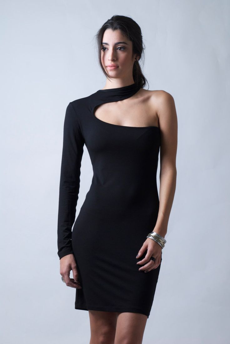 Black One Shoulder Dress / The Snake / Cocktail Dress / LBD / marcellamoda - MD088 by marcellamoda on Etsy https://www.etsy.com/listing/168946695/black-one-shoulder-dress-the-snake