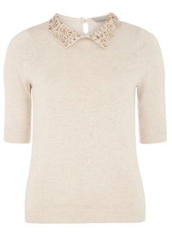 Petite blush collar jumper