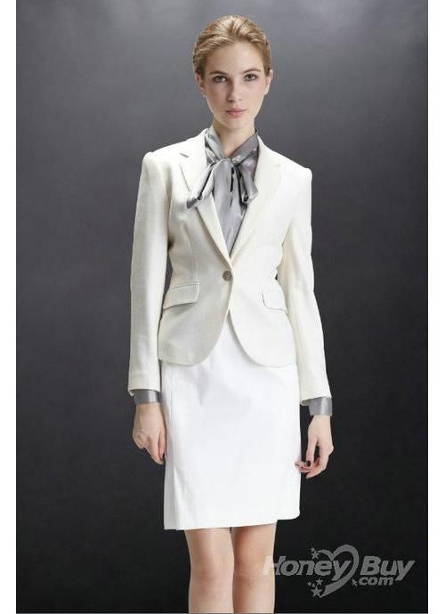 White One Button Notch Lapel 2012 Business Suits For Women