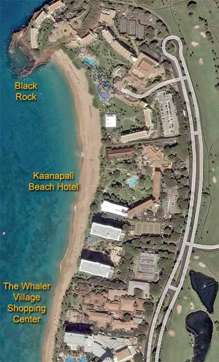 Kaanapali Beach air photo.  We are staying at the Kaanapali Beach.  Gonna walk to the Black Rock at night to see the diving ceremony!