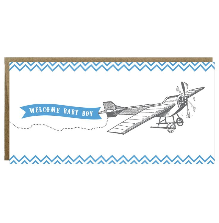 Welcome Baby Boy Vintage Plane Greeting Card - Single Card