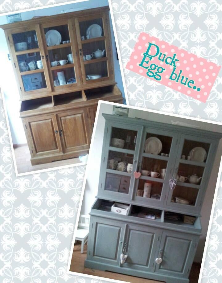 Liesje laat zien wat Duck Egg Blue voor mooie kleur is